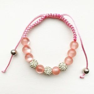 "Pink & diamond ""disco ball"" shamballa bracelet"